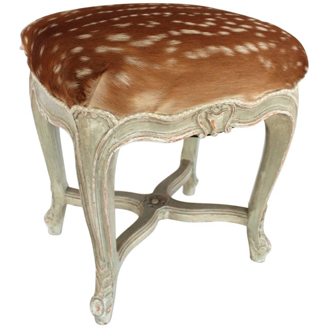 Animal Skin Louis XV Style Stool For Sale - Image 7 of 7