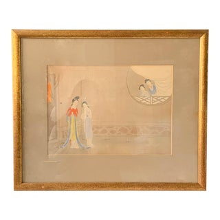 Antique Chinese Painting - Woman in Waiting For Sale