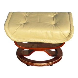 Vintage Mid Century Modern Yellow Cream Leather Ottoman For Sale