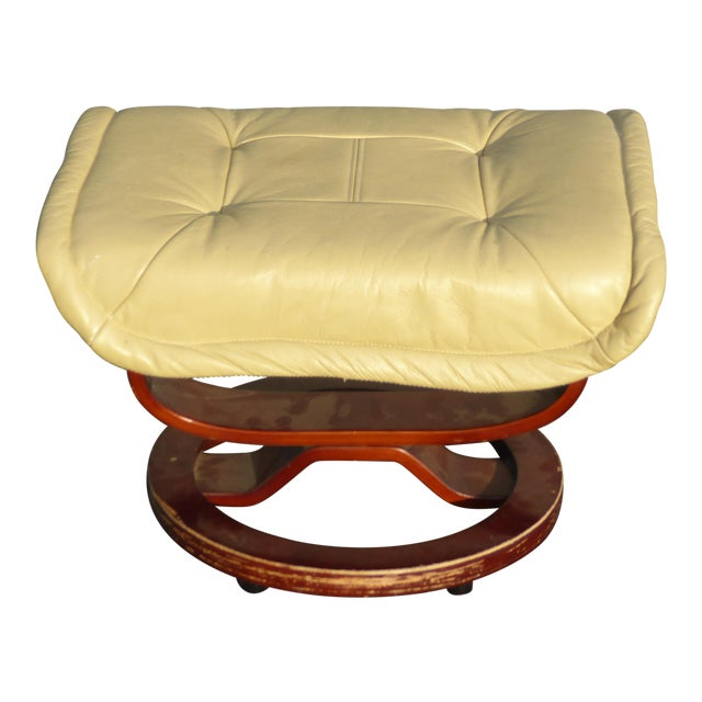 Vintage Mid Century Modern Yellow Cream Leather Ottoman For Sale
