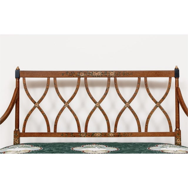 Early 20th Century Satinwood Hand-Painted Cane Settee For Sale In New York - Image 6 of 12