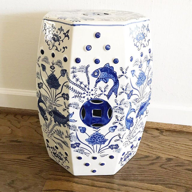 Chinese Koi Fish Blue & White Garden Stool - Image 4 of 4