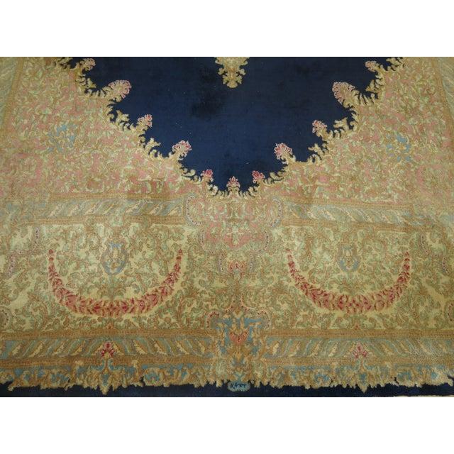 Blue Vintage Kerman Rug - 10'4'' x 13'2'' For Sale - Image 8 of 10