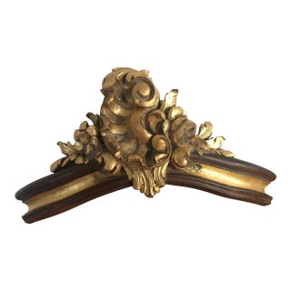 Antique French Carved Wood Gold Leaf Crown Door Top For Sale