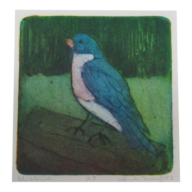 Vintage Lithograph Titled: Blue Bird and Signed For Sale