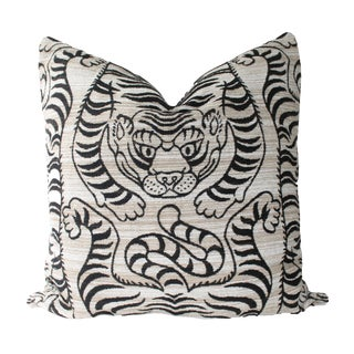 """Chinoiserie Tibetan Tiger Chenille Beige and Black Pillow - 24"""" For Sale"""