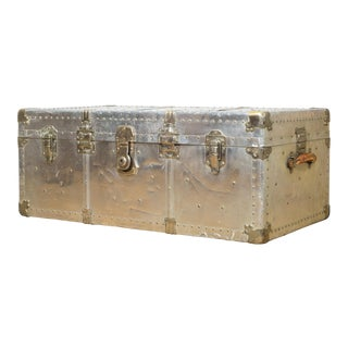 Early 20th C. Polished Aluminum and Brass Trunk C.1930 For Sale