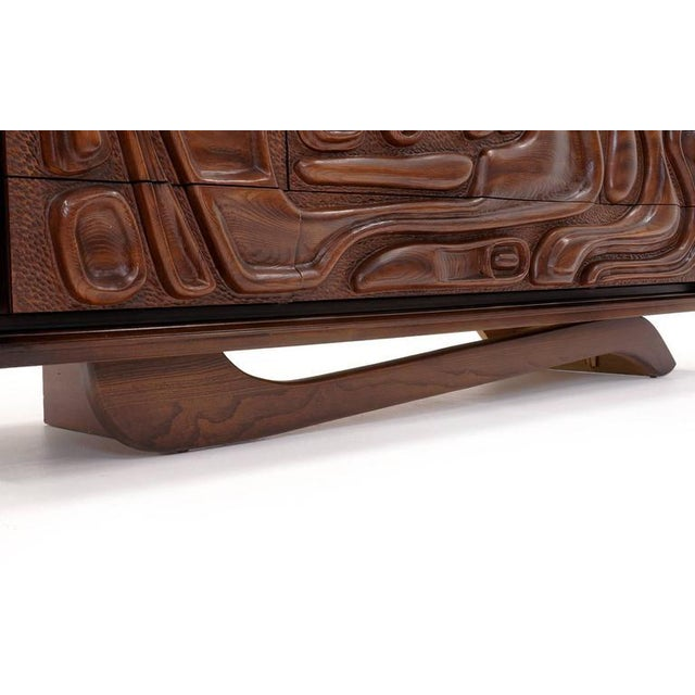 Witco Carved Front Walnut Cabinet / Credenza in the Style of Philip Lloyd Powell For Sale - Image 9 of 10