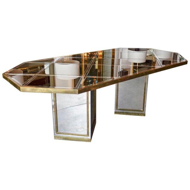 Mid Century Modern Italian Romeo Rega Brass, Chrome, Glass & Mirror Dining Table / Desk - Image 3 of 5