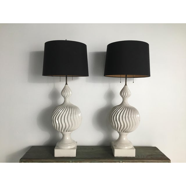 Monumental Ceramic Double Gourd Lamps with Shades - a Pair For Sale - Image 12 of 12