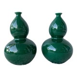 Image of Ballard Design Double Gourd Emerald Green Vases- A Pair For Sale
