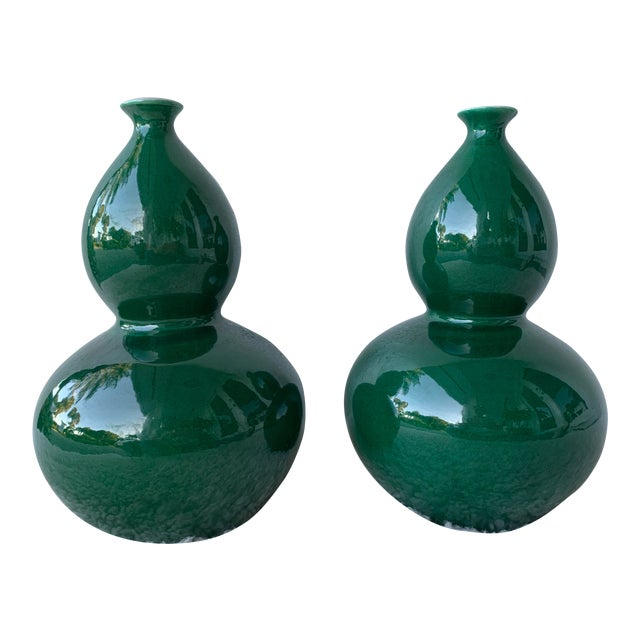 Ballard Design Double Gourd Emerald Green Vases- A Pair For Sale