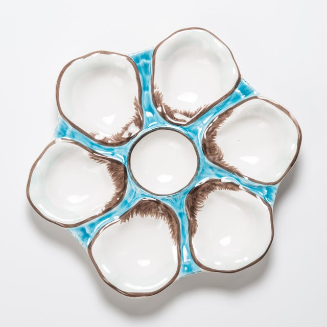 Contemporary Oyster Plate, Ceramic Round, Turquoise For Sale - Image 3 of 3