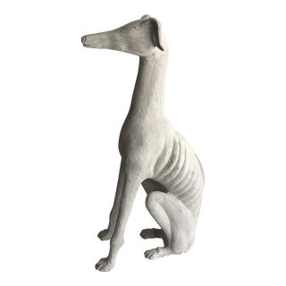 Vintage White Plaster Whippet/Greyhound Figurine For Sale