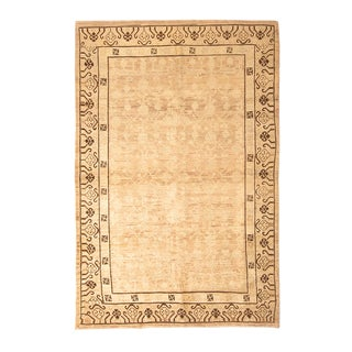 Transitional Khotan Beige and Black Wool Rug For Sale