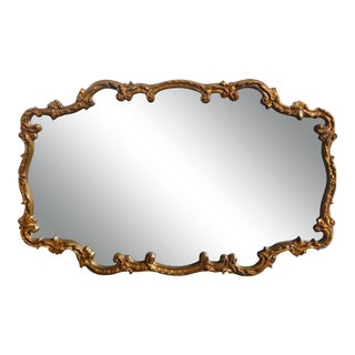 Vintage French Provincial Louis XVI Gold Scrolled Wall Mantle Mirror For Sale