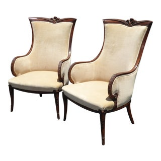 Vintage Empire White Velvet Ornate Accent Arm Chairs - a Pair