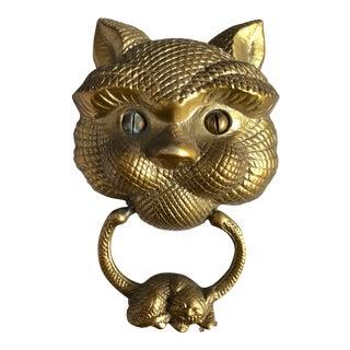Large Solid Brass Cat Door Knocker For Sale