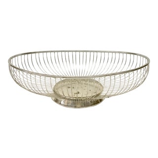 1970s Vintage Italian Silver-Plate Bread Basket For Sale