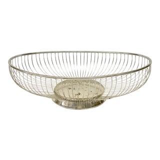 1970s Vintage Italian Silver-Plate Bread Basket For Sale