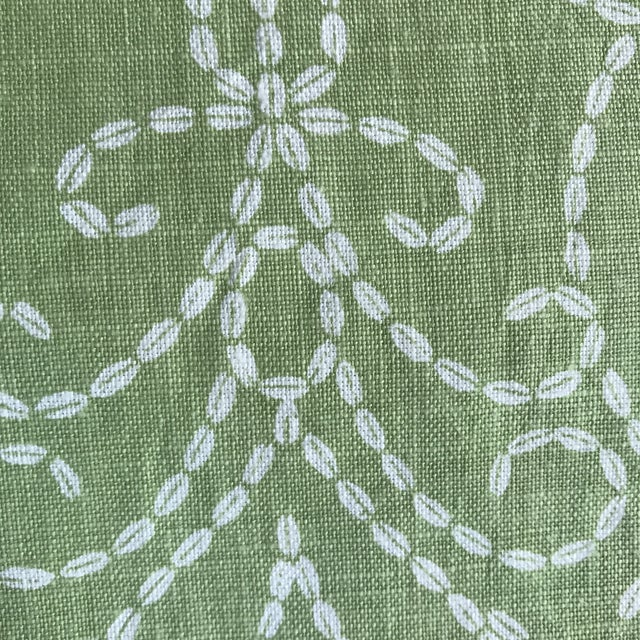 "Traditional Raoul ""Vizcaya"" Textiles Green Linen Fabric 2 1/3 Y For Sale - Image 3 of 9"
