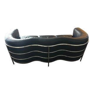 "Mid-Century Modern Style ""Onda"" Leather Sofa For Sale"