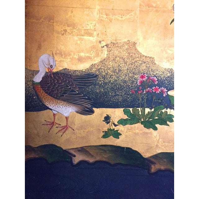 18th Century Antique Japanese Gold Leaf Screen with Blossoms and Birds For Sale - Image 10 of 10