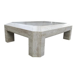 1960's Hollywood Regency Wide-Bevel Travertine Coffee Table For Sale