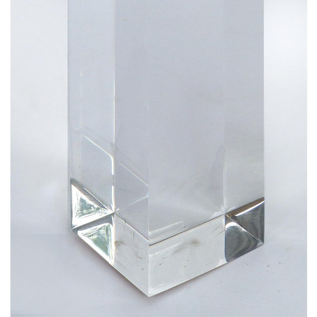 Custom Lucite Side Table W/ Interchangeable Tops & Gold Leaf Accents For Sale In Miami - Image 6 of 10