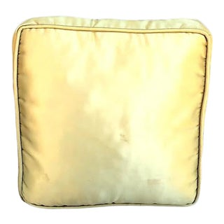 Hollywood Regency Olive Satin Square Throw Pillow For Sale