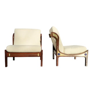 Pair of Ib Kofod-Larsen Wenge Lounge Chairs for the Megiddo Collection For Sale