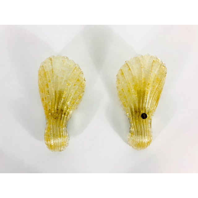 1960s Mid-Century Modern Shell Shaped Murano Glass Wall Lamps by Fischer Leuchten, Germany- a Pair For Sale - Image 12 of 12