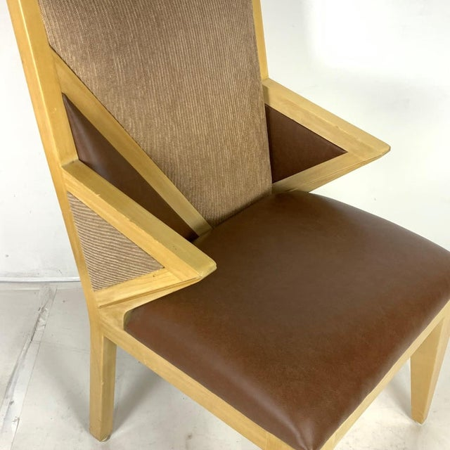 Wood Custom Postmodern Memphis Style Blonde Wood Dining or Occasional Chairs - Set of 10 For Sale - Image 7 of 12