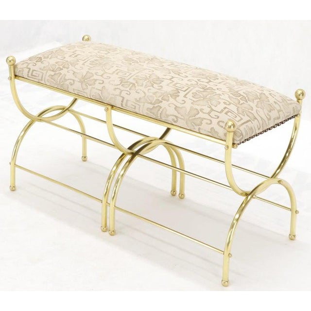 Maison Jansen Solid Brass Frame Midcentury Window Bench New Upholstery For Sale - Image 4 of 13