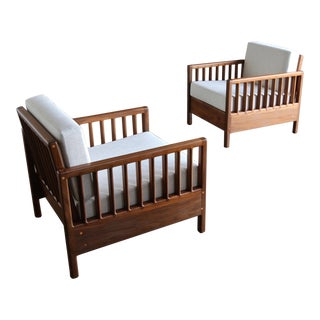 Handcrafted Solid Walnut Lounge Chairs Circa 1978 - a Pair For Sale