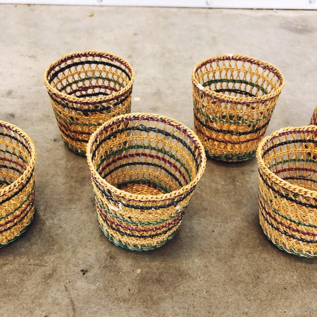 Cottage 1970s Basketweave Cups / Plant Holders For Sale - Image 3 of 7