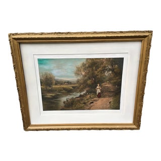 1910 Figurative Landscape Painting by Ernest Walbourned, Framed For Sale