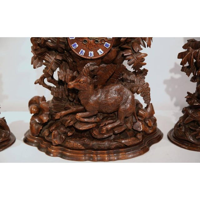 Mid 19th Century Carved Walnut Black Forest Clock & Matching Vases - Set of 3 For Sale - Image 5 of 10
