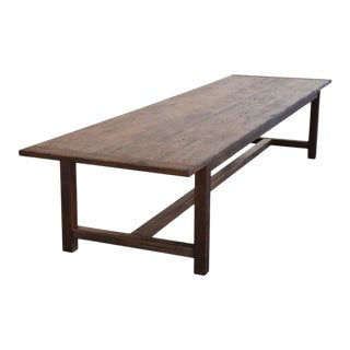 Rustic Large Farm Table Made From Reclaimed Pine For Sale