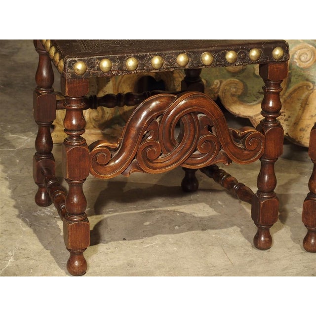 Black Pair of Antique Oak, Leather, and Brass Side Chairs From Portugal, 19th Century For Sale - Image 8 of 13