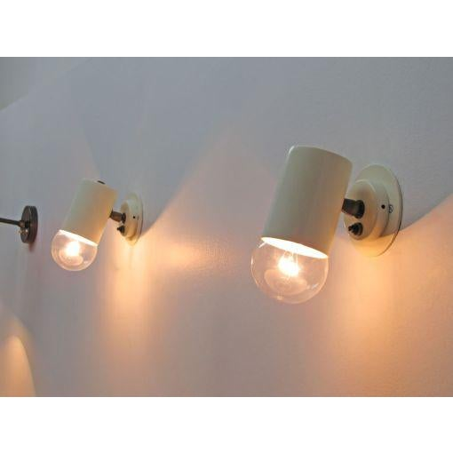 Pair of Minimalistic Stilnovo Adjustable Brass White Wall Lights For Sale - Image 9 of 10
