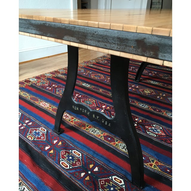 Reclaimed Industrial Wood Bowling Alley Farm Table - Image 6 of 7
