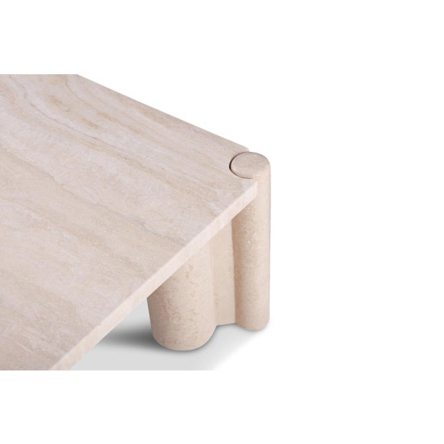 Stone Gae Aulenti Jumbo Travertine Square Coffee Table For Sale - Image 7 of 9