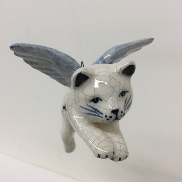 Boho Chic Hand Painted Artisan Ceramic Flying Cat Ornament For Sale - Image 3 of 11