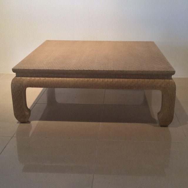 Karl Springer Style vintage Hollywood Palm Beach Regency grasscloth linen wrapped coffee cocktail table by Baker...