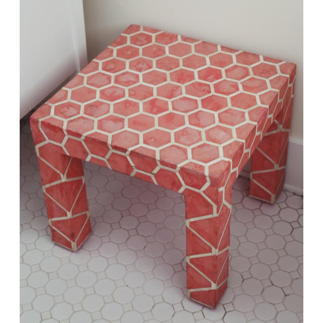 Antique Pink Clay Bone Inlay Honeycomb Side Table For Sale - Image 9 of 9