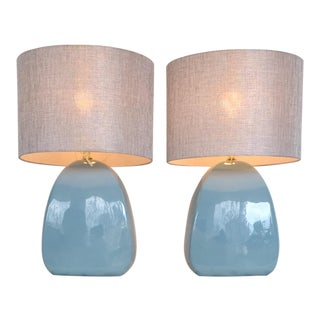 Vintage Powder Blue Lamps, a Pair