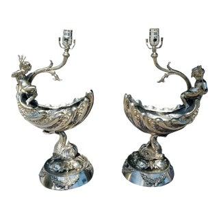 1960's Vintage Putti & Triton Nautical Lamps- A Pair