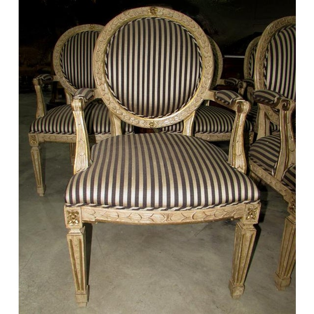 2000 - 2009 French Louis XV Carved Wood Oval Back Dining Arm Chairs - Set of 7 For Sale - Image 5 of 13