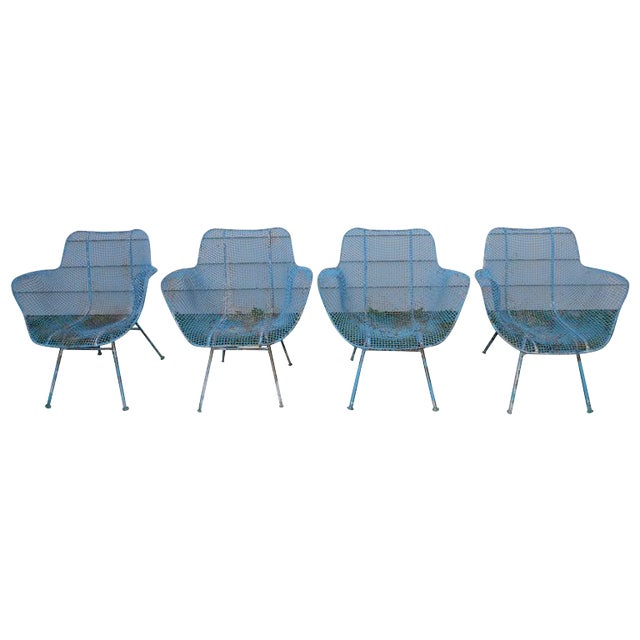 Russell Woodard Sculptura Wire Patio Chairs, Set of 4, in As-Found Sea Sky Blue For Sale